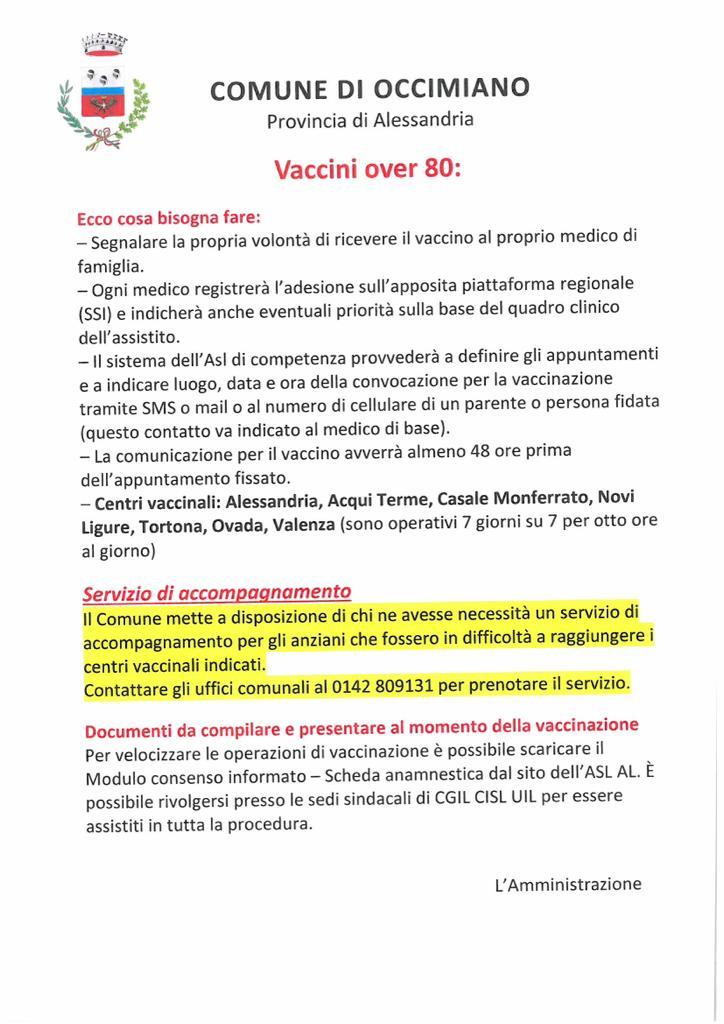 adesione campagna Vaccini over 80