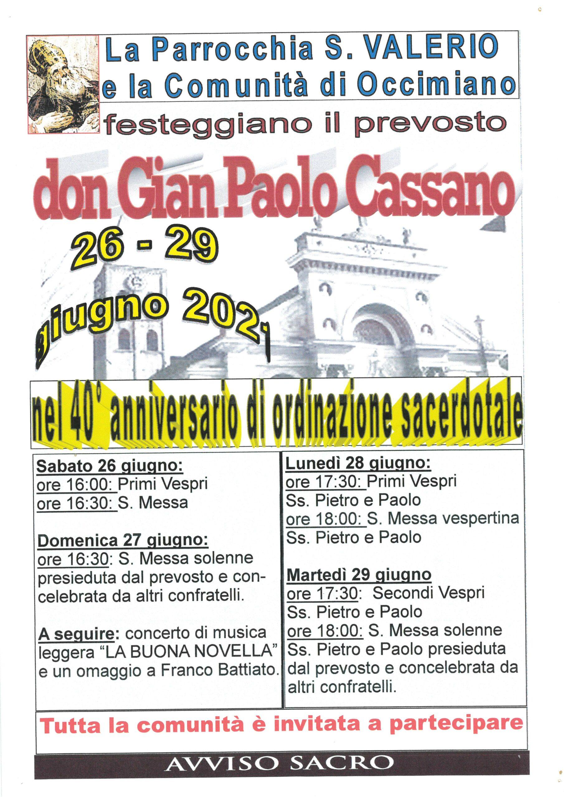 Cassano Don Gian Paolo – 40^ anniversario ordinazione sacerdotale – domenica 27 giugno
