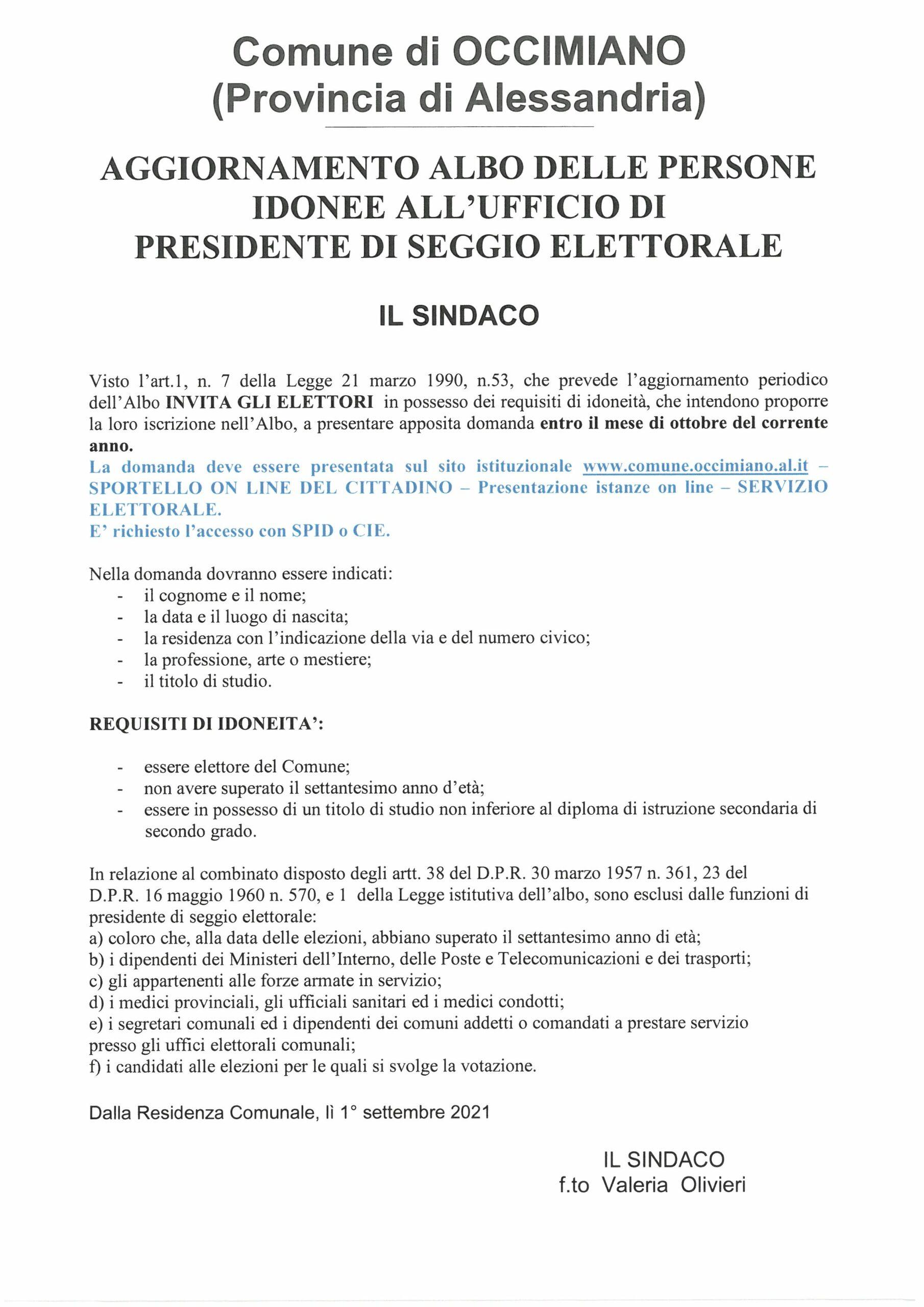 Iscrizione Albo Presidenti di Seggio Elettorale