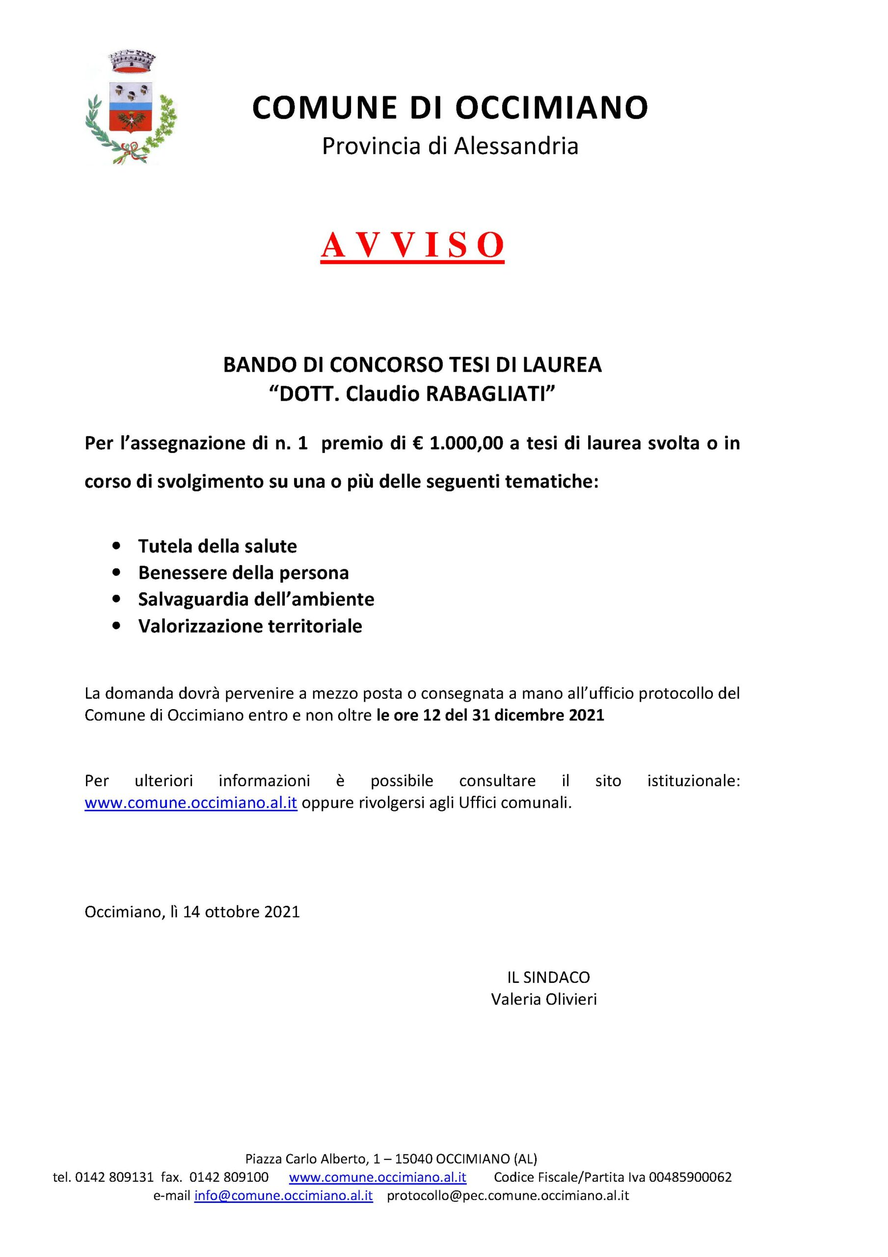 """BANDO DI CONCORSO tesi di laurea """"Dott. Claudio Rabagliati"""""""